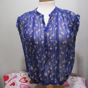 Zara Woman Semi Sheer Blue Blouse Size Medium